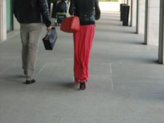 Street style - red long skirt