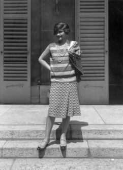 French couturier Gabrielle 'Coco' Chanel (1883 - 1971) at her home, Fauborg, St Honore, Paris.