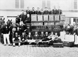 LV company in the courtyard of the Vuitton workshops in Asnières, Paris, c. 1888