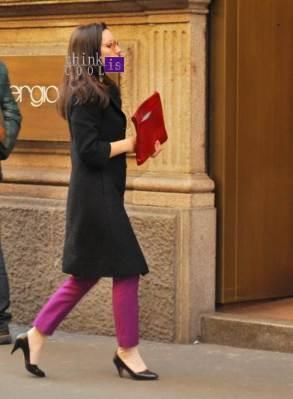 purple pants on Montenapoleone street