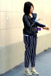 stripes pants & gold shoes