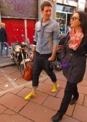 denim jacket & yellow sneakers